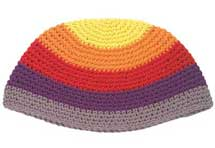Large Knit (Frik) Kippah - Multi Color