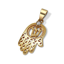 14K Gold Hamsa Pendant with Diamond
