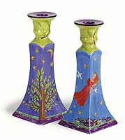 Ceramic Woman of Valor Candlestick Set