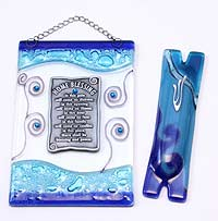Fused Glass Mezuzah & Home Blessing Combo Gift