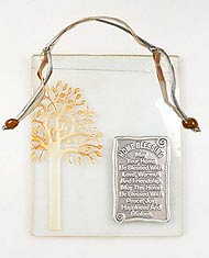 Glass Tree of Life Plaque with Home Blessing