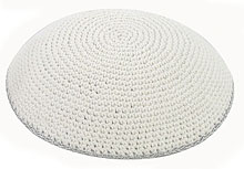 Hand Knitted Kippah - White with Silver Trim