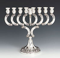 Sterling Silver Menorah -  Rose Stem Collection