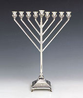 Sterling Silver Menorah -  Rubin Collection - Chabad Style