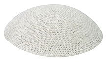 Hand Knitted Kippah - White