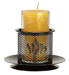Black Metal Memorial Candle Holder w/Candle