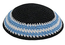 Personalized Knit Kippot - Black with Blue & White