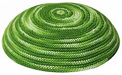 Hand Knitted Kippah - Shades of Green