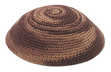 Hand Knitted Kippah - Shades of Brown