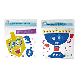 Reusable Hanukkah Glitter Gel Decorations - 2 Sheets