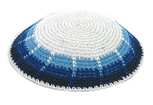 Hand Knitted Kippah - Fence/Israeli Colors