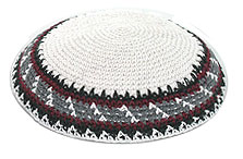 Personalized Knit Kippot - Black/Grey/Burgandy