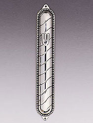 Sterling Silver Mezuzah Cover - Stripes