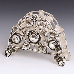 Sterling Silver Napkin Holder - Floral