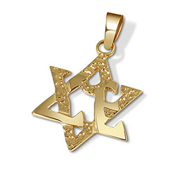 14K Gold Star of David & Love Pendant - Medium