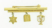 14K Gold Judaic Pin