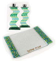 Fused Glass Candlesticks with MatchingTray
