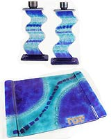 Fused Glass Candlesticks with MatchingTray - Blue & Aqua