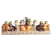 Sculptured resin Cat Menorah