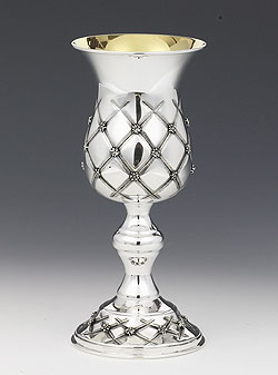 Large Sterling Silver Elijah Cup - Chess