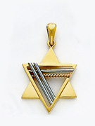 14K Gold Star of David Pendant - 2 Tone