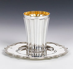 Sterling Silver Kiddush Cup with Tray