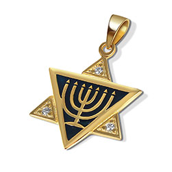 14K Gold/Silver Star Necklace - Enamel Menorah