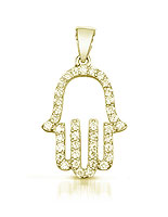 14K Gold/Silver Hamsa with Cz's
