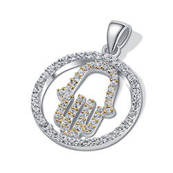 14K Gold/Silver Hamsa Pendant with CZ's