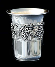 Silver Dipped Kiddush Cup - Grapes
