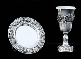 Silver Dipped Kiddush Cup  with Tray - Grapes