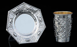Silver Dipped Kiddush Cup  with Tray - Web