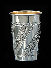 Silver Dipped Kiddush Cup - Floral Stripes