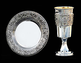 Silver Dipped Kiddush Cup  with Tray - English