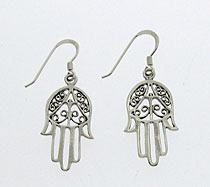 Large Silver Hamsa Earrings