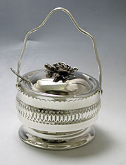 Silver Plated Honey Dish - Carry Handle