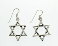 Large Silver Braided Star Earrings