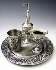 Pewter Havdalah Set - Jerusalem