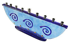 Fused Glass Menorah  - Blue Swirls