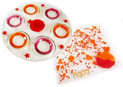 Fused Glass Seder Plate & Matzah Tray - Red Pomegranate