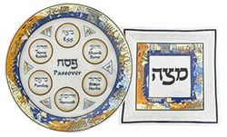 Glass Passover Seder and Matzah tray - Exodus