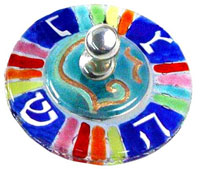 Fused Glass Art Dreidel - Round Multi