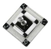 Fused Glass Square Dreidel - Black/Silver
