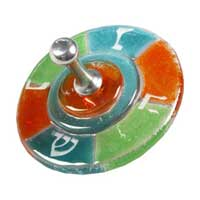 Fused Glass Square Dreidel - Jade/Green/Orange