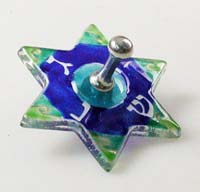 Fused Glass Star Dreidel - Blue/Green