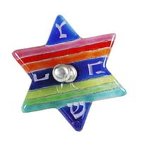 Fused Glass Star Dreidel - Rainbow