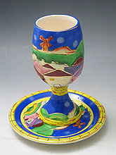 Painted Ceramic Kiddush Cup & Saucer