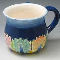 Painted Ceramic Round Wash Cup - Jerusalem