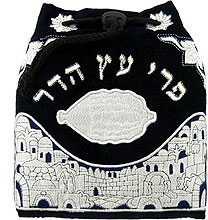 Embroidered Velvet Etrog Bag with Plastic protector
