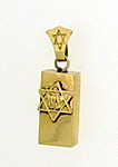 14K Gold Small Mezuzah Pendant - Zion Star